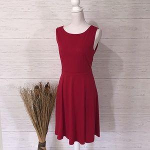 LOFT Ann Taylor Red Knit Fit & Flare Dress - 8